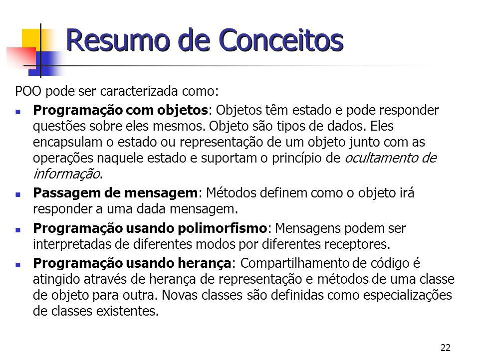 Resumo de Conceitos POO pode ser caracterizada como: