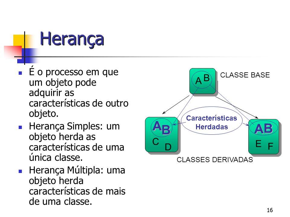 Herança É o processo em que um objeto pode adquirir as características de outro objeto.