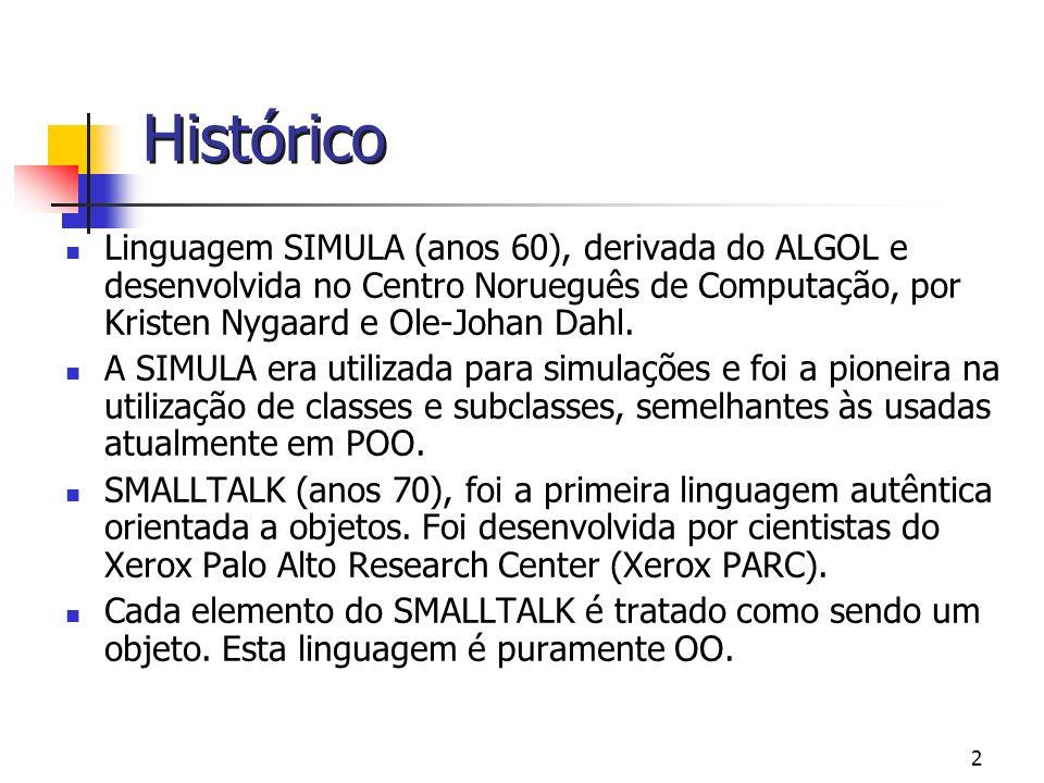 Histórico Linguagem SIMULA (anos 60), derivada do ALGOL e desenvolvida no Centro Norueguês de Computação, por Kristen Nygaard e Ole-Johan Dahl.