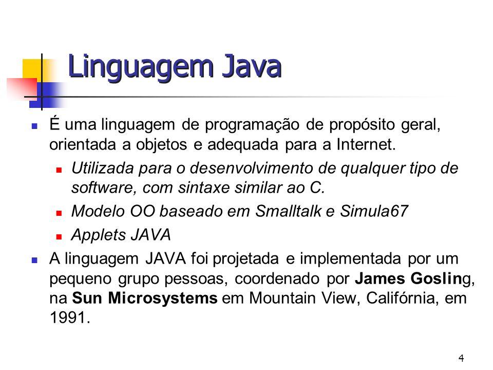 Linguagem Java É uma linguagem de programação de propósito geral, orientada a objetos e adequada para a Internet.