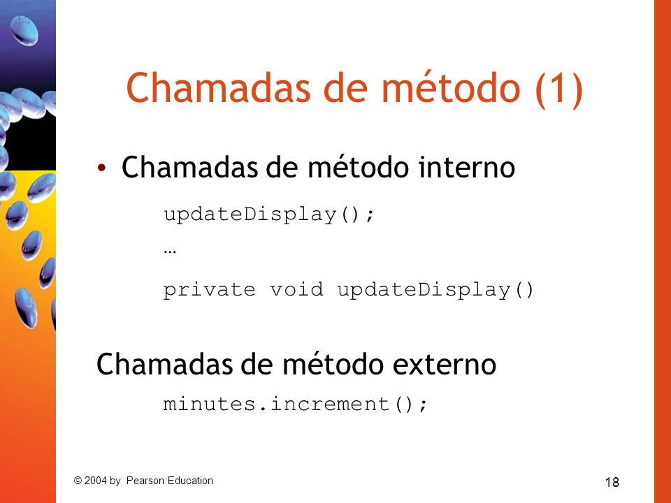 Chamadas de método (1) Chamadas de método interno updateDisplay();