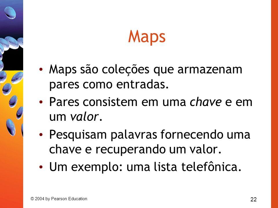 Maps Maps são coleções que armazenam pares como entradas.