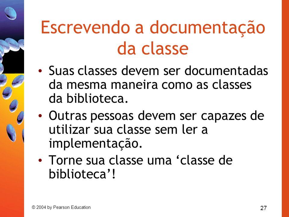 Escrevendo a documentação da classe