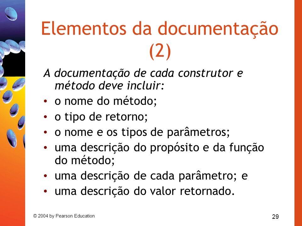 Elementos da documentação (2)