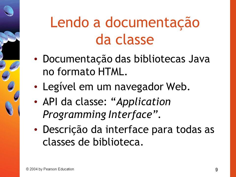 Lendo a documentação da classe