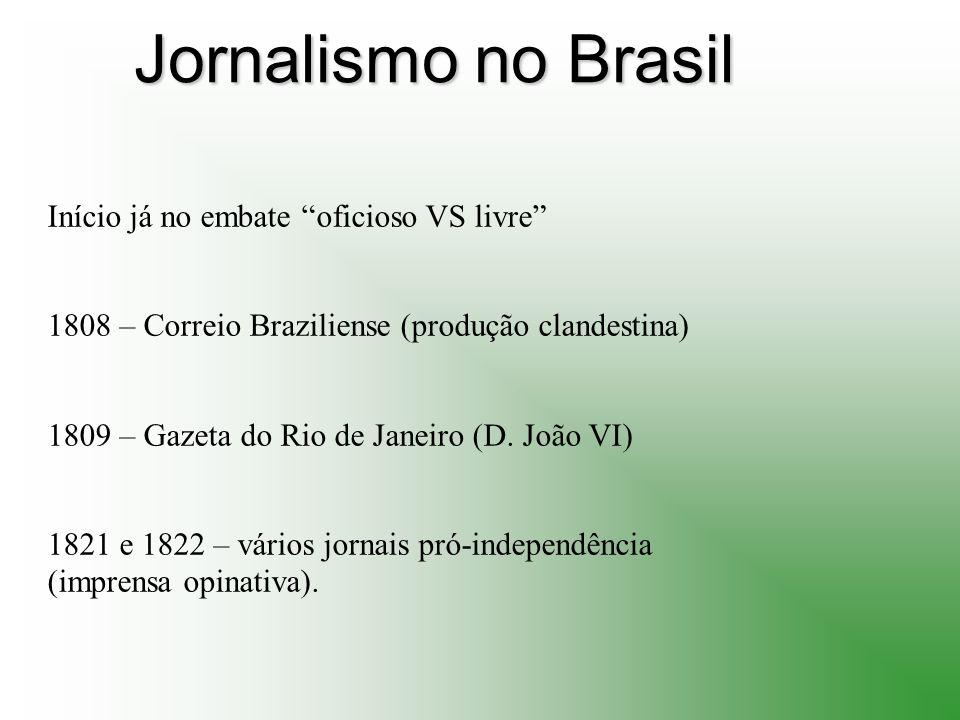 Jornalismo no Brasil Início já no embate oficioso VS livre