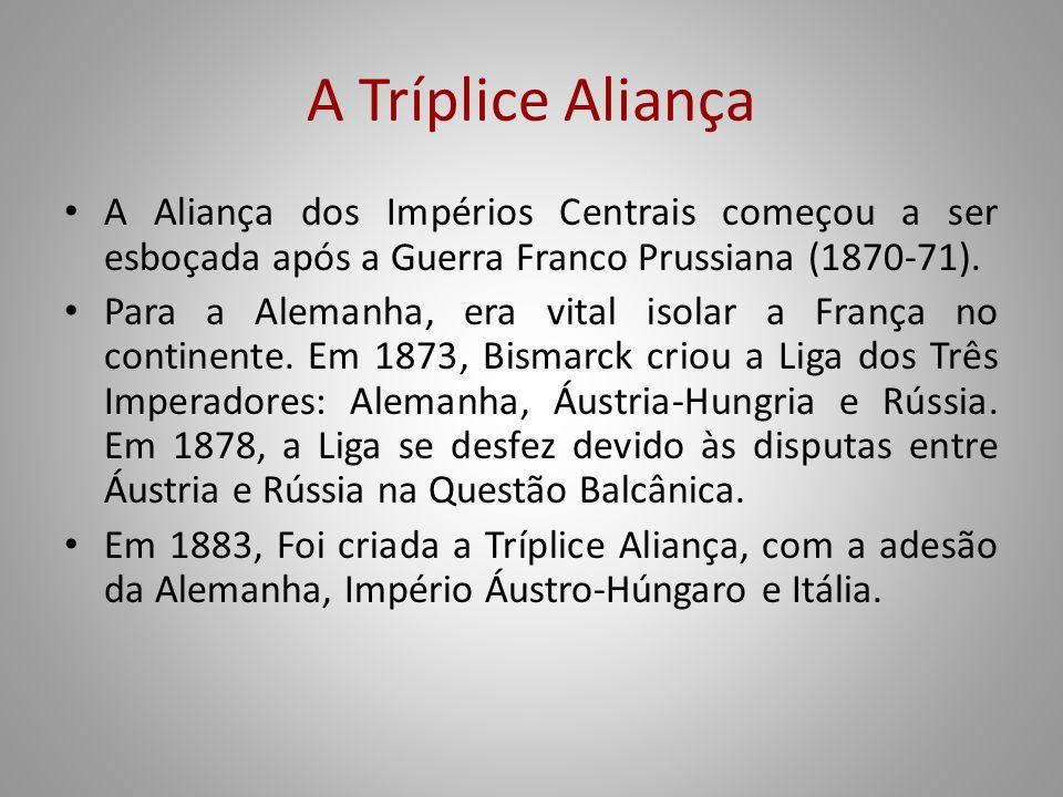A Tríplice Aliança A Aliança dos Impérios Centrais começou a ser esboçada após a Guerra Franco Prussiana (1870-71).