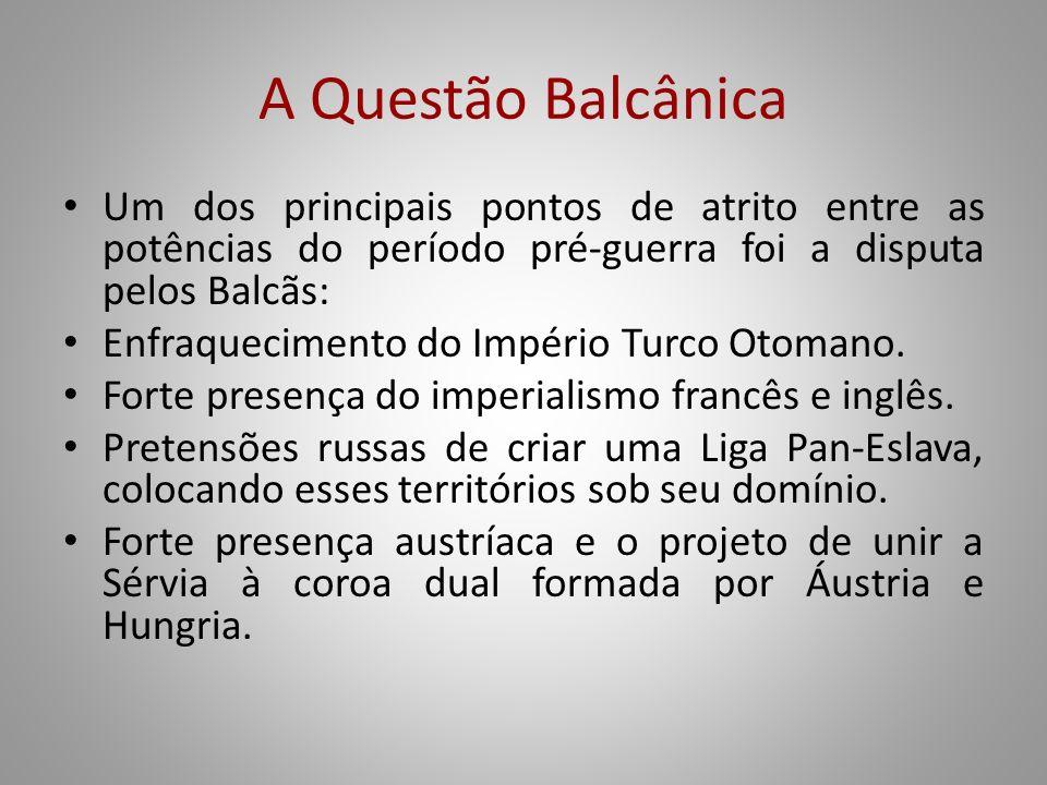 A Questão Balcânica Um dos principais pontos de atrito entre as potências do período pré-guerra foi a disputa pelos Balcãs: