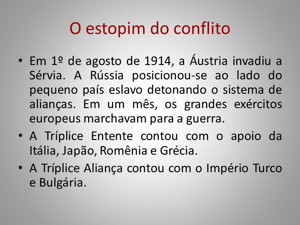 O estopim do conflito
