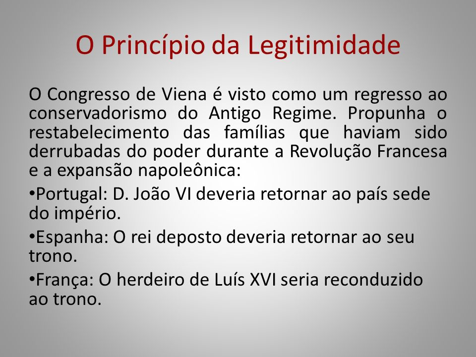 O Princípio da Legitimidade