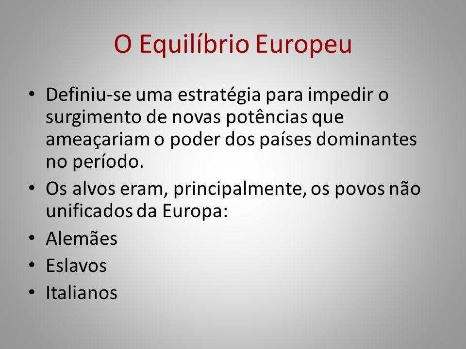 O Equilíbrio Europeu Definiu-se uma estratégia para impedir o surgimento de novas potências que ameaçariam o poder dos países dominantes no período.