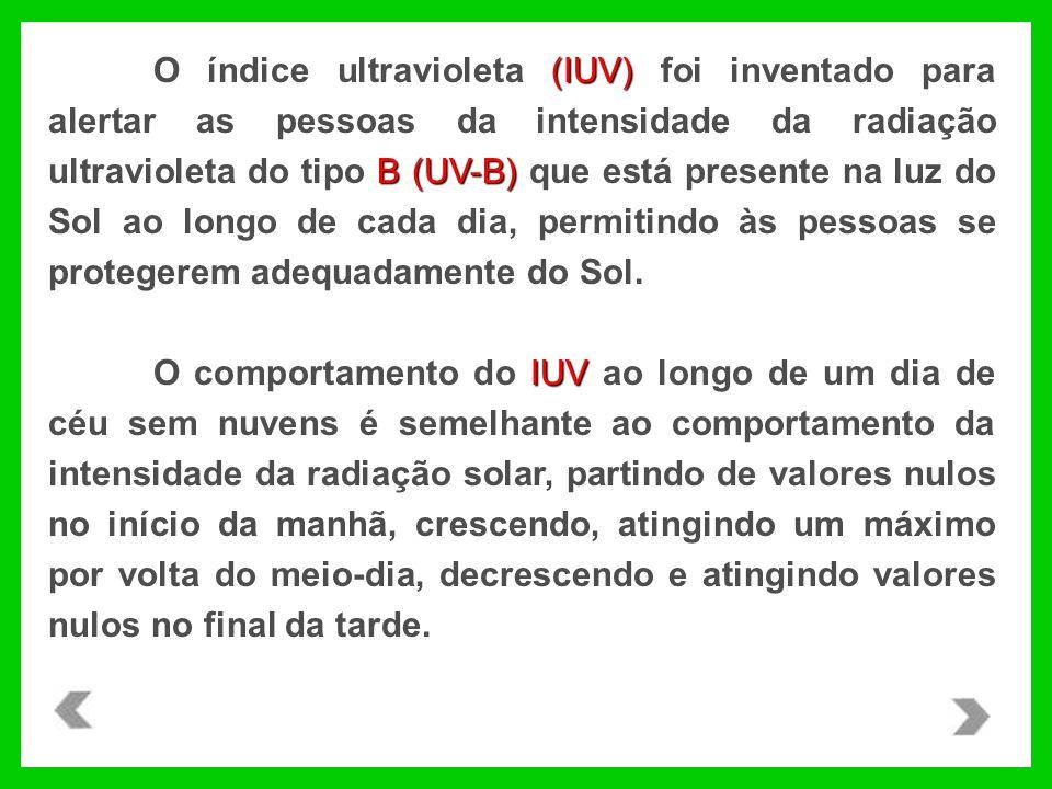 O índice ultravioleta (IUV) foi inventado para alertar as pessoas da intensidade da radiação ultravioleta do tipo B (UV-B) que está presente na luz do Sol ao longo de cada dia, permitindo às pessoas se protegerem adequadamente do Sol.
