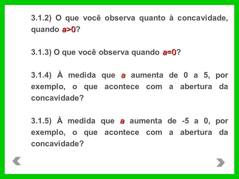 3.1.2) O que você observa quanto à concavidade, quando a>0