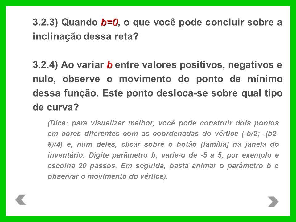 3.2.3) Quando b=0, o que você pode concluir sobre a inclinação dessa reta