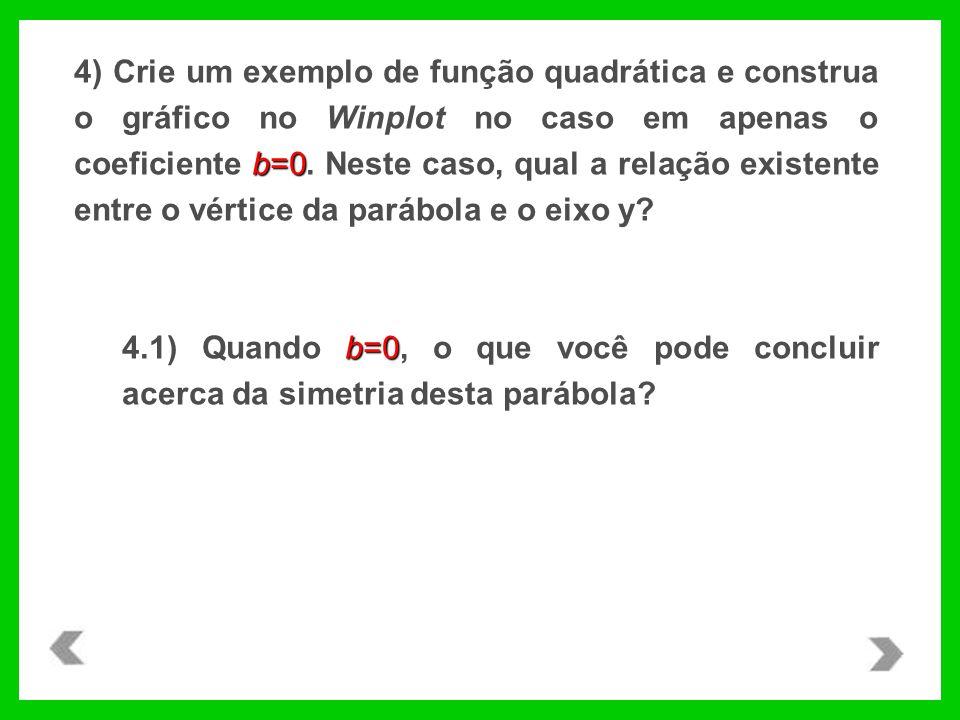 4) Crie um exemplo de função quadrática e construa o gráfico no Winplot no caso em apenas o coeficiente b=0. Neste caso, qual a relação existente entre o vértice da parábola e o eixo y