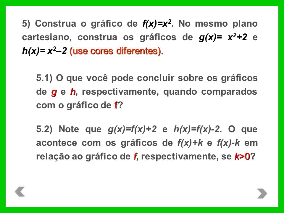 5) Construa o gráfico de f(x)=x2