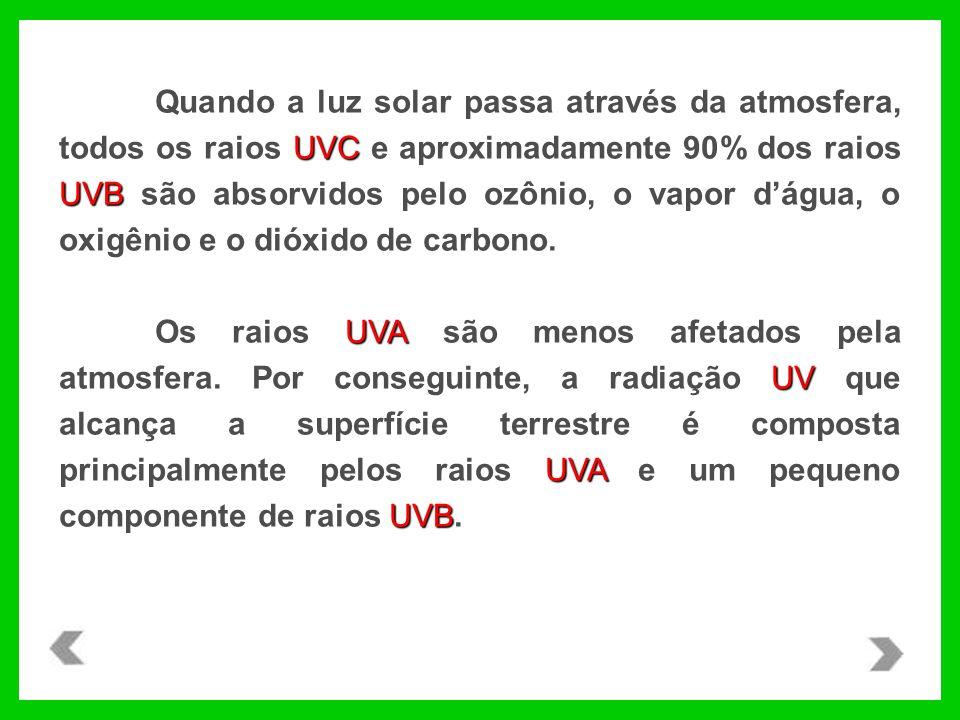 Quando a luz solar passa através da atmosfera, todos os raios UVC e aproximadamente 90% dos raios UVB são absorvidos pelo ozônio, o vapor d'água, o oxigênio e o dióxido de carbono.