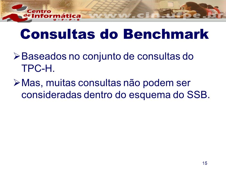 Consultas do Benchmark