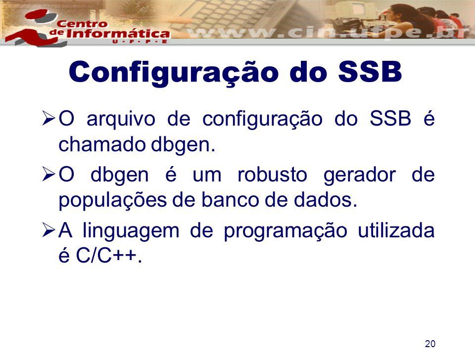 Configuração do SSB O arquivo de configuração do SSB é chamado dbgen.