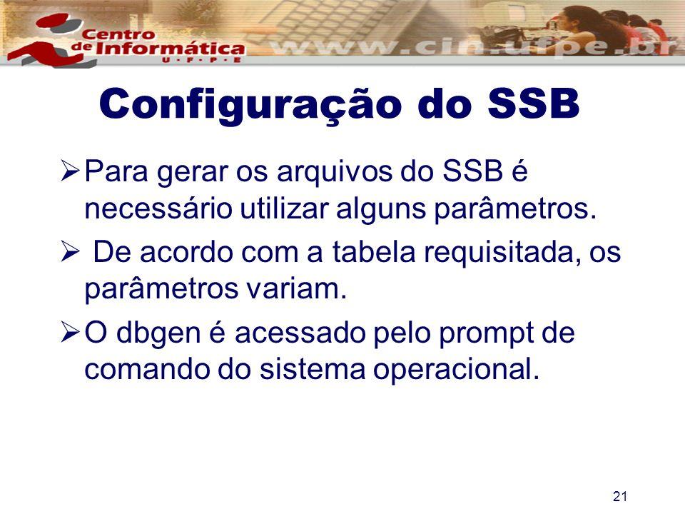 Configuração do SSB Para gerar os arquivos do SSB é necessário utilizar alguns parâmetros. De acordo com a tabela requisitada, os parâmetros variam.