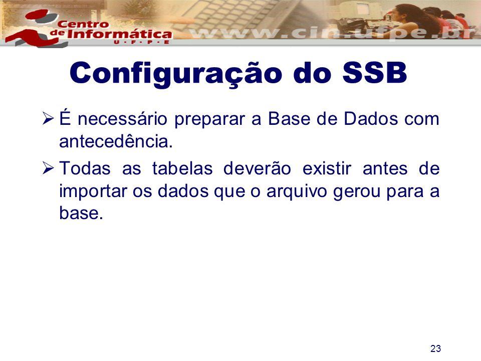 Configuração do SSB É necessário preparar a Base de Dados com antecedência.