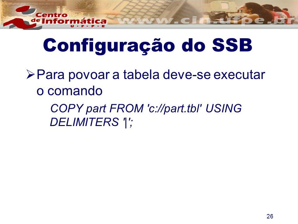 Configuração do SSB Para povoar a tabela deve-se executar o comando