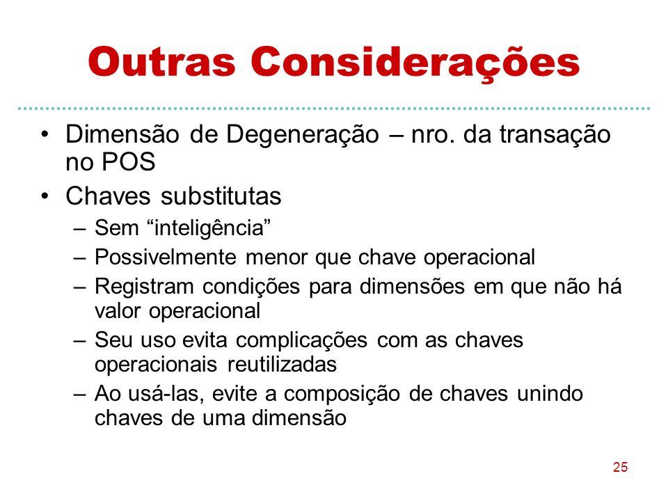 Outras Considerações Dimensão de Degeneração – nro. da transação no POS. Chaves substitutas. Sem inteligência