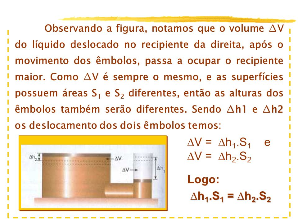 ∆V = ∆h1.S1 e ∆V = ∆h2.S2 Logo: ∆h1.S1 = ∆h2.S2