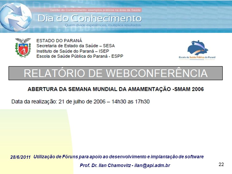 Fóruns Virtuais para as Conferências