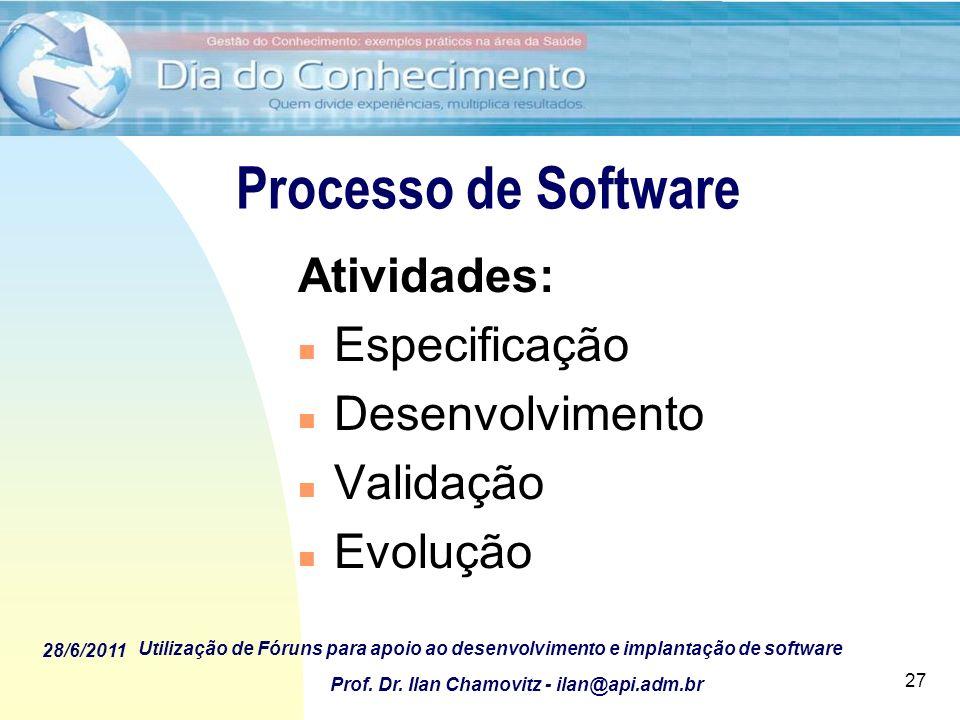 Processo de Software Atividades: Especificação Desenvolvimento