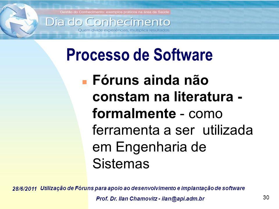 Processo de Software Fóruns ainda não constam na literatura - formalmente - como ferramenta a ser utilizada em Engenharia de Sistemas.