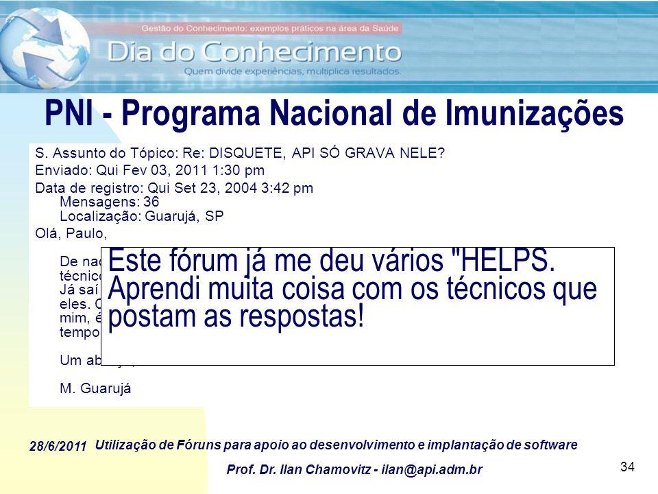 PNI - Programa Nacional de Imunizações