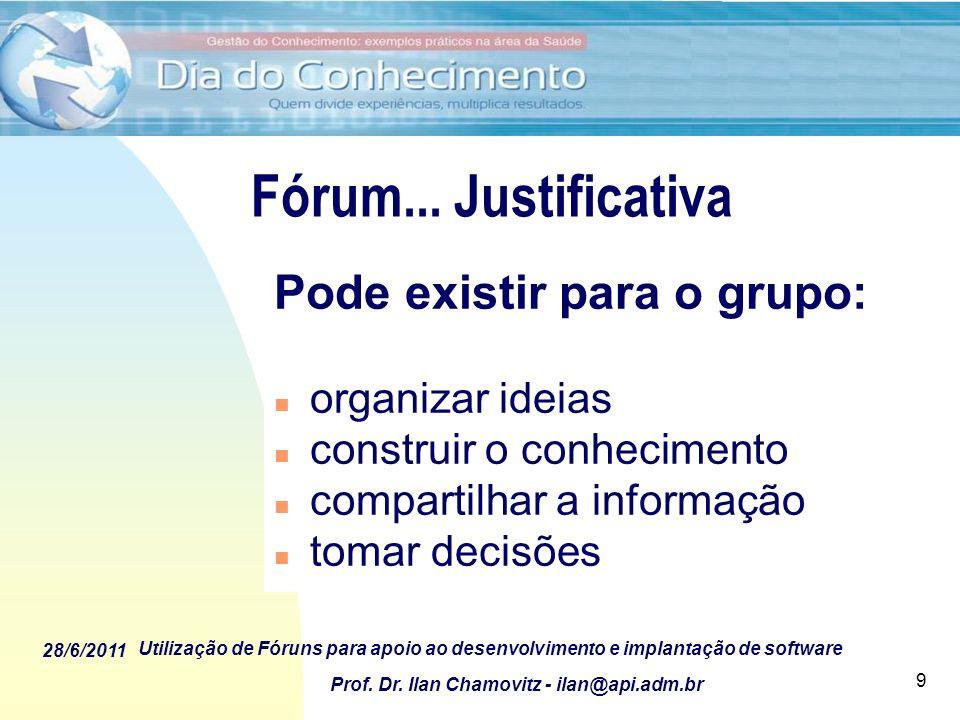 Fórum... Justificativa Pode existir para o grupo: organizar ideias