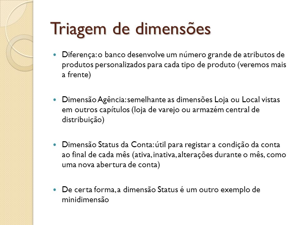 Triagem de dimensões