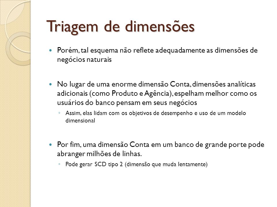Triagem de dimensões Porém, tal esquema não reflete adequadamente as dimensões de negócios naturais.