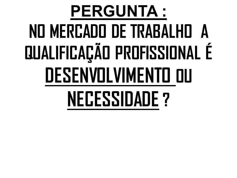 PERGUNTA : NO MERCADO DE TRABALHO A QUALIFICAÇÃO PROFISSIONAL É DESENVOLVIMENTO OU NECESSIDADE