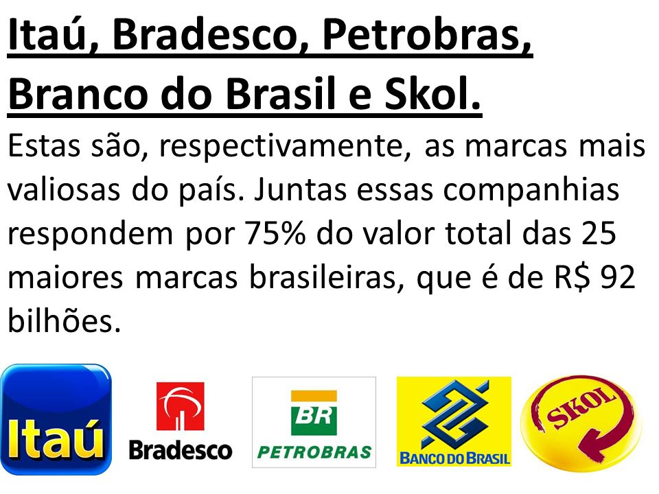 Itaú, Bradesco, Petrobras, Branco do Brasil e Skol.