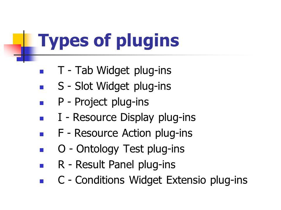 Types of plugins T - Tab Widget plug-ins S - Slot Widget plug-ins