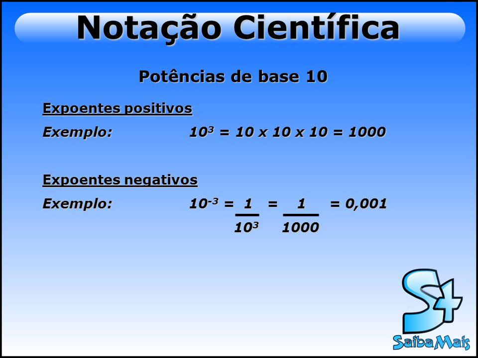 Notação Científica Potências de base 10 Expoentes positivos