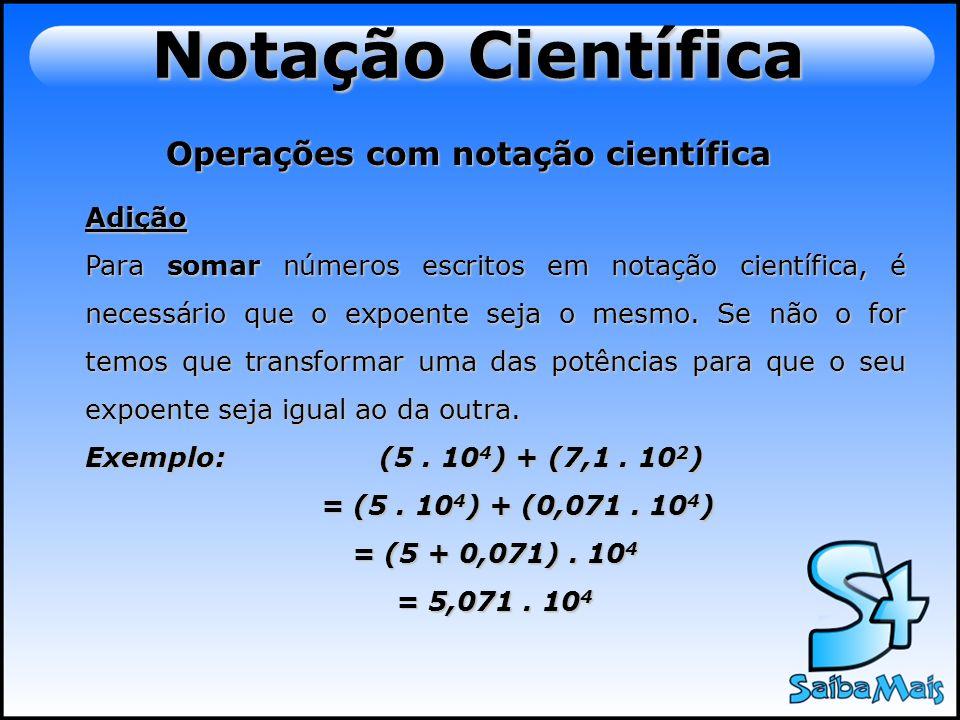 Operações com notação científica