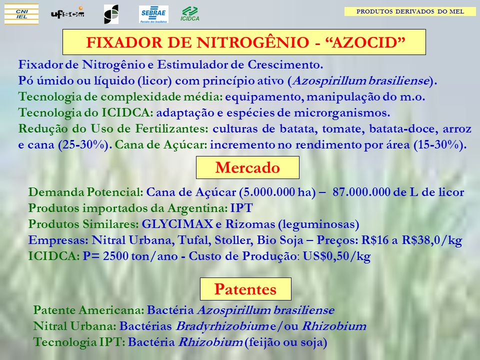 PRODUTOS DERIVADOS DO MEL FIXADOR DE NITROGÊNIO - AZOCID