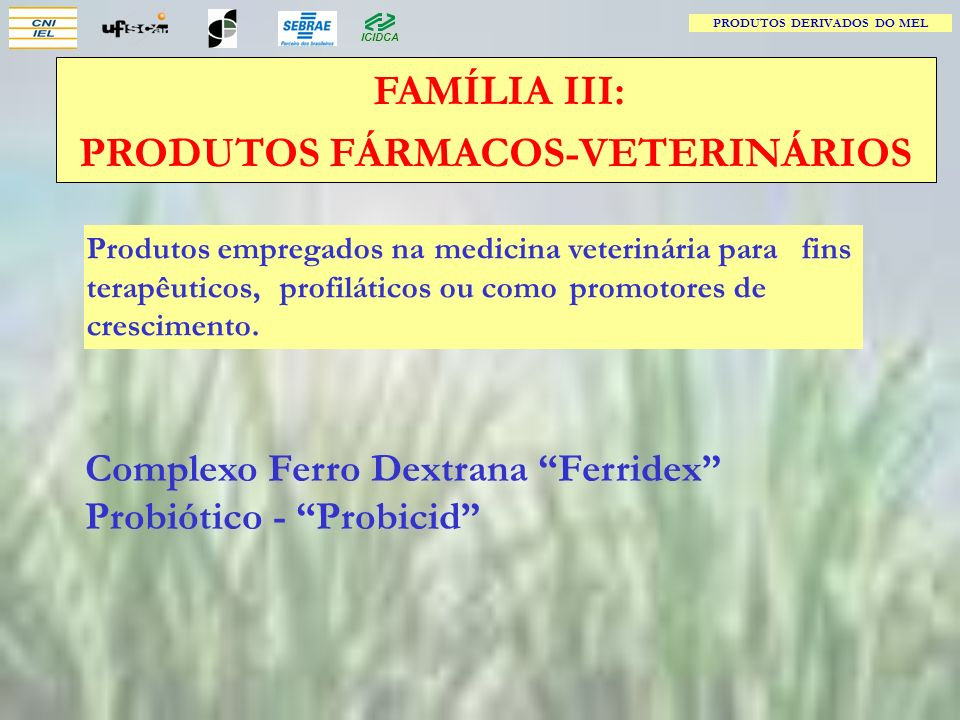 PRODUTOS DERIVADOS DO MEL PRODUTOS FÁRMACOS-VETERINÁRIOS