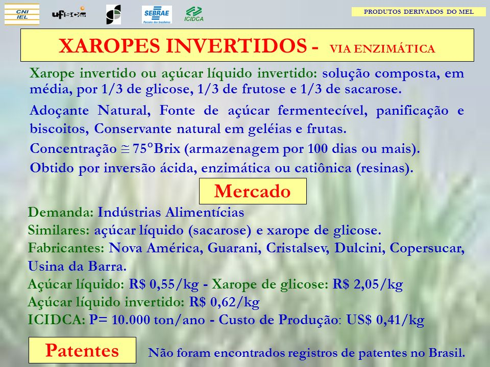 PRODUTOS DERIVADOS DO MEL XAROPES INVERTIDOS - VIA ENZIMÁTICA