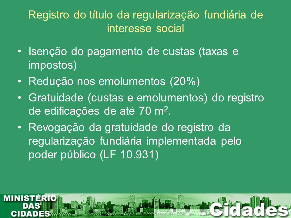 Registro do título da regularização fundiária de interesse social