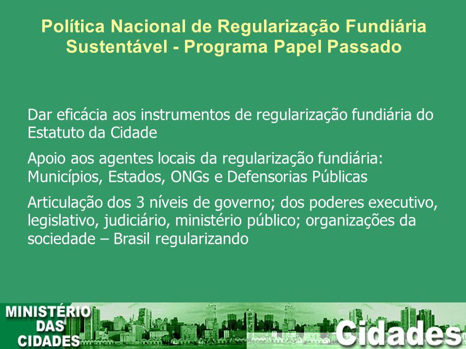 Política Nacional de Regularização Fundiária Sustentável - Programa Papel Passado