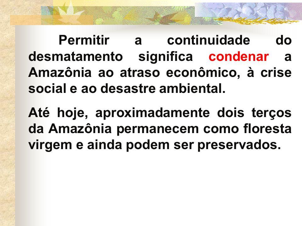 Permitir a continuidade do desmatamento significa condenar a Amazônia ao atraso econômico, à crise social e ao desastre ambiental.