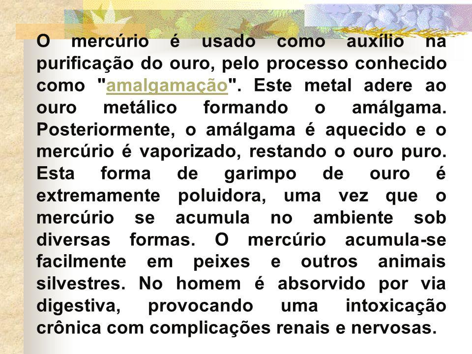O mercúrio é usado como auxílio na purificação do ouro, pelo processo conhecido como amalgamação .