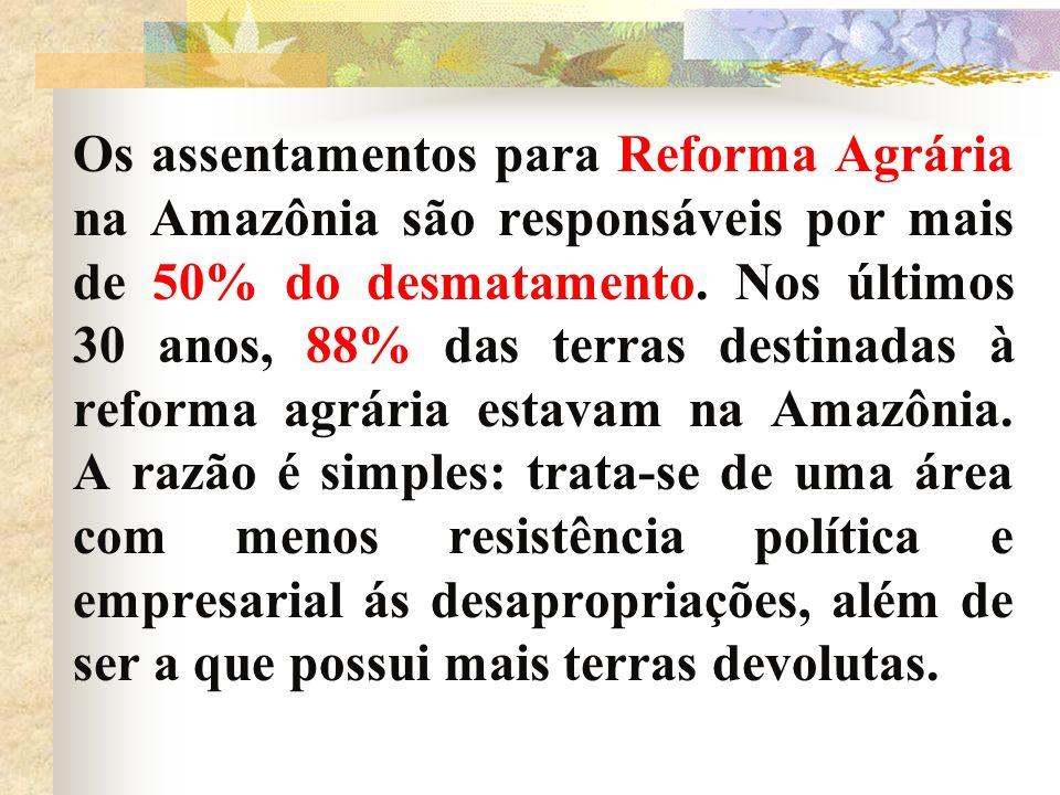 Os assentamentos para Reforma Agrária na Amazônia são responsáveis por mais de 50% do desmatamento.