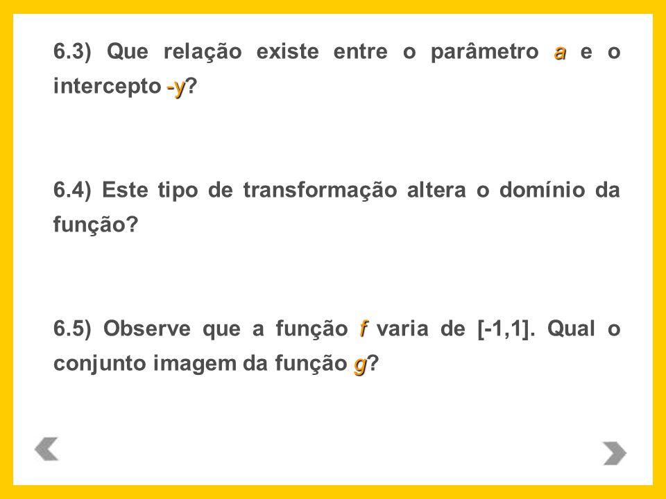6.3) Que relação existe entre o parâmetro a e o intercepto -y