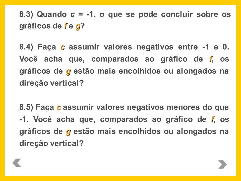 8.3) Quando c = -1, o que se pode concluir sobre os gráficos de f e g